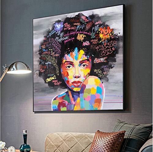Haoxinbaihuo Chica Africana Abstracta Letras Arte