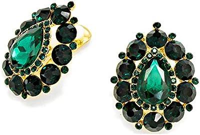 Luxus grandes clips para las orejas clips clip pendientes colour verde Smaradgrün 4,1 x 3,1 cm grande