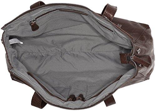 Spikes & Sparrow Damen Zip Bag Henkeltasche, 13 x 25 x 35 cm Braun (Dark Brown)