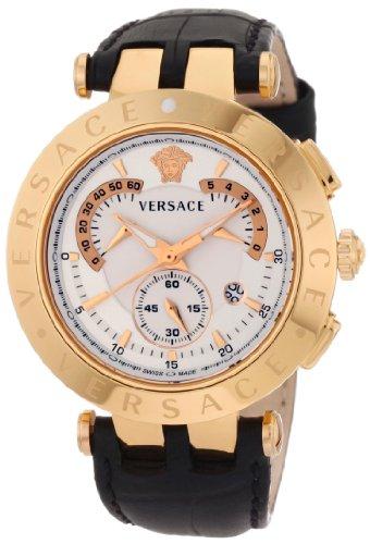 Versace 23C80D002 S009 V-Race Reloj para hombre, cronógrafo, piel auténtica, anillos intercambiables chapados en oro rosado