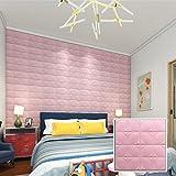 Huihong 60 X 60 cm Schaumfliese Wandaufkleber,Neue PE-Schaum-3D-Tapete DIY Wand-Aufkleber-Wand-Dekor prägeartiger Ziegelstein-Stein (Rosa)