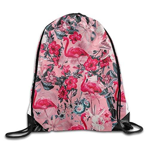 Pink Flamingo Floral Print Drawstring Backpack Rucksack Shoulder Bags Sport Gym Bag for Men and Women - The North Face Insulated Belt