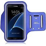 MoKo Armband Brassard de Sport pour Huawei P9 / P8 / P8 Lite / Samsung Galaxy S7 Edge - Slot Porte-clés, Anti-sueur, Connecté parfaitement avec l'écouteur, BLEU (Compatible avec 5.5 Pouces)