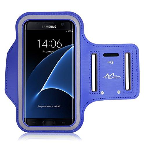 MoKo Armband für Samsung Galaxy S7 Edge - Sweatproof Joggen Laufen Sport Armband Handy Hülle Schutzhülle Case + Schlüsselhalter Kopfhörer Anschluss für Smartphone bis zu 5.5 Zoll, Marineblau (Größe L) (Wasserdichte Samsung Galaxy S4 Fall)