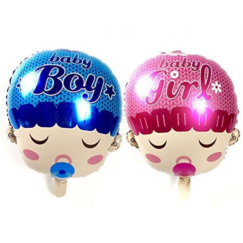 Anqeeso Baby Boy/Girl Head Form Mylar Ballon, Baby Dusche Sport Thema Ballon Deko-Set 5pcs Boy+5pcs Girl