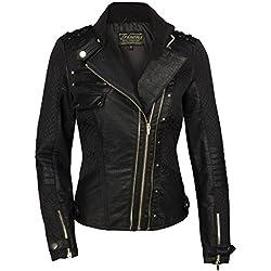 TRISENS Mujer Chaqueta de cuero Biker corta Moto Chaqueta de cuero PU Negro Oro negro S