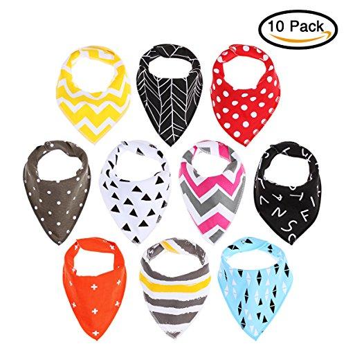 Lätzchen, 10 Pcs Baby Saugfähig Weich Dreieckstuch Spucktuch, Baumwolle Halstücher mit Druckknöpfen für Baby Jungen und Mädchen (10 Pcs Neu)