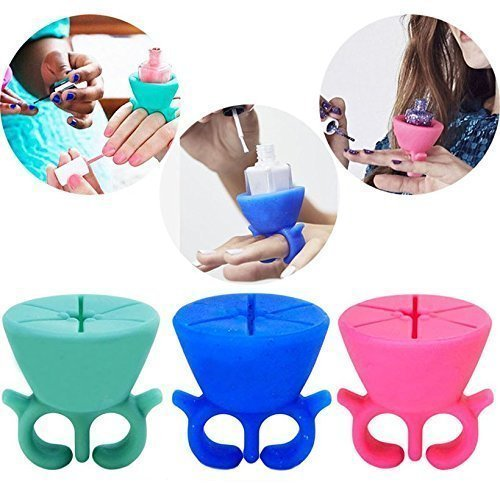 Rian's Online 1PC Creative Leaf Design Silicone Wearable Nail Polish Bottle Holder Ring For Women's Ladies Girls ( Random Color)