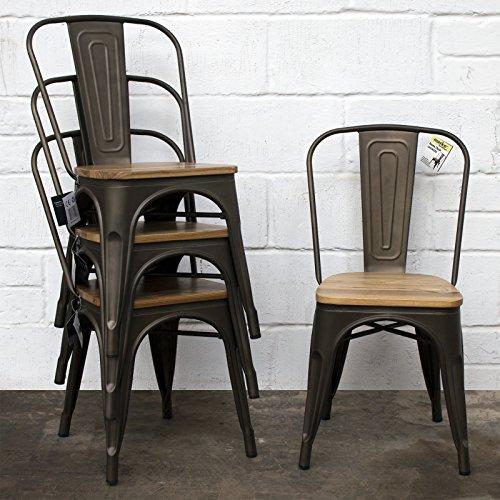 Marko Furniture Set of 4 Gun Metal Industrial Dining Chair Kitchen Bistro Cafe Vintage Wood Seat