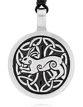 Llords Schmuck Halskette mit keltischem Hasen Kaninchen Anhänger in irischem Knoten Design, feinster Zinn Metall...