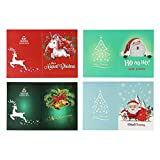 Decdeal 5D Diamond Painting Christmas Cards Diamond Embroidery Birthday Paper DIY Greeting Postcards Cartoon Craft Kids Gift 4PCS