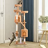 PURLOVE® 175cm 3 Platform Cat Tree with Scratching Post Pet Cat Arch Scratcher Activity Tree Cat Climbing Play Tower Tree (Beige)