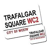 Set di tappetino per mouse e sottobicchiere con il nome delle strade e monumenti famosi di Londra Trafalgar Square Lions Square