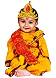#5: Krystle Boys and Girls Dhoti Kurta Krishna Kids Costume Ethnic Wear Dress (Pack of 5 - Kurta, Dhoti, Bansuri, Mor Pankh Mukut, Bandhni Patka)(Yellow)