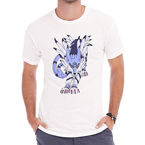 Digimon Garurumon Wolf Gabumon Walking Herren T-Shirt Weiß