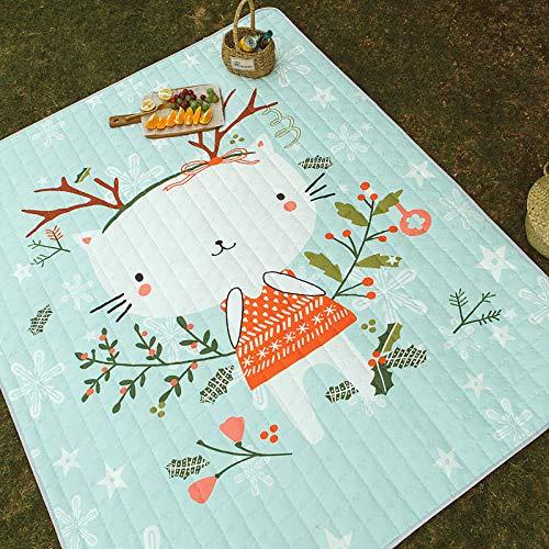 Lssing Verdicken Picknickmatte wasserdicht Picknick Gras Camping Strand feuchtigkeitsbeständig Falten tragbareBodenmatteSchneeflocke Katze140x200cm