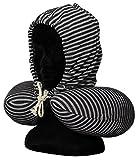 Nackenkissen mit Kapuze und Kordel / Maße ca.30x30cm / mit und ohne Kapuze tragbar / aus Polyester, Fütterung mit Styroporkügelchen / Farbe grau gestreift / Trendyshop365