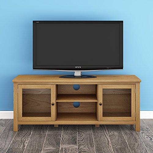 Ruication TV-Schrank, modern, massives Eichenholz, 2 Türen, 2 Regalböden, DVD-Video, Möbel für Wohnzimmer, Schlafzimmer Type B Eiche -