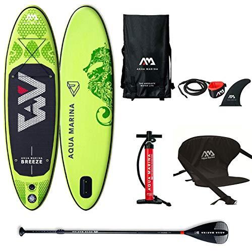 Aqua Marina Aufblasbar Sup Board Stand up Paddle AQUAMARINA Breeze 2019 Komplette Packung 275x76x12cm mit Kajak Sitz -