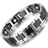 Axiba Herren Armband Männer Hand Schmuck 20CM Silber-schwarz Herren Armband magnetischen schwarzen Stein Wolfram Stahl Armband Kreatives Geschenk