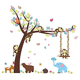 AWAKINK Cartoon Tree Lovely Animals Elephant Bird Bear Monkey Swing Wall Stickers Wall Decal Vinyl Removable Art Wall Decals for Girls and Boys Nursery Room Children's Bedroom