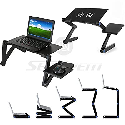 Upgrade Laptop Bed Tray Table - 48CM w/ Mouse Pad + Double CPU Cooling Fan, Adjustable Laptop Stand, Portable Standing Desk, With Foldable Legs, Foldable Sofa Breakfast Table, Notebook Stand Reading Holder For Couch Floor Kids - Price Xes - cheap UK light