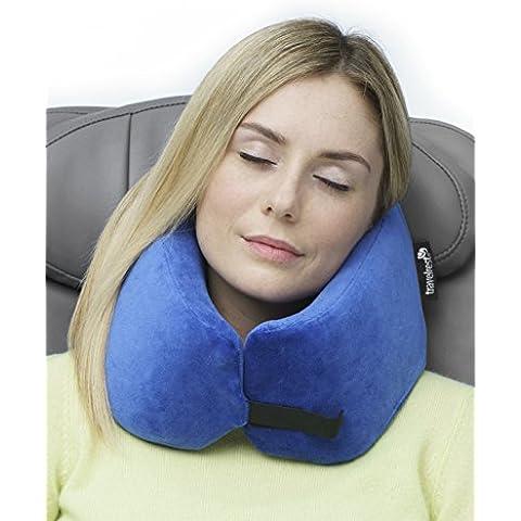 Travelrest - La almohada de viaje de espuma viscoelástica definitiva - Ergonómica, original y patentada - Mejor almohada de viaje para ir en el avión, el coche, autobuses, trenes, para siestas en el trabajo, acampadas, sillas de ruedas y estar por