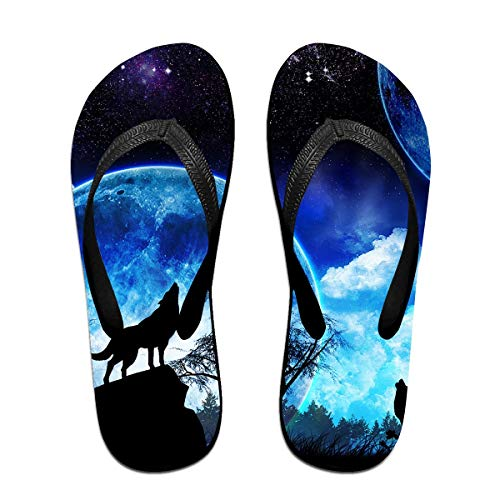 Howling Wolf Full Moon Unisex Adults Casual Flip-Flops Sandal Pool Party Slippers Bathroom Flats Open Toed Slide Shoes Medium -