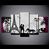 XMQW Cuadro en Lienzo 5 Partes Torre De Paris Imagen para Cocina Comedor Dormitorio Decoración Cartel Modular,A,60' Wx32 H