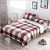 LHFJ Sommerdecke 100% Baumwolle Sommer dünne Decke atmungsaktiv gemütliche Baumwolle Thermo-Decke weichen japanischen Stil Bettwäsche Tagesdecke,Red,200 * 230