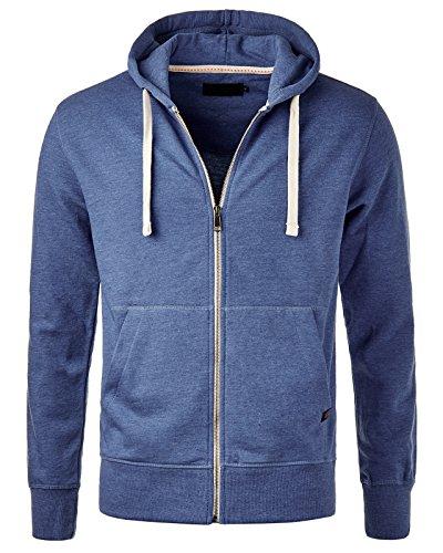 EightyFive EF903 Herren Kapuzen Sweat-Jacke Hoodie Zipper 7 Farben S-XXL Blau