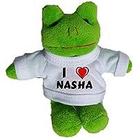Rana de peluche (llavero) con Amo Nasha en la camiseta (nombre de pila