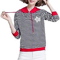 ALUK- Suéter de rayas blancas y negras suéter con capucha de párrafo corto femenino de manga larga para mujeres ( Color : As shown , Tamaño : L )