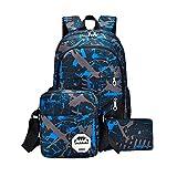 HCFKJ Schultasche, Baby Jungen Mädchen Kinder Dinosaurier Muster Tiere Rucksack Kleinkind Schultasche (Blue)