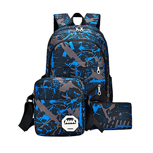 KAL12 Backpack School Bags Set for Teenage Boys, Casual Daypack + Small Shoulder Bag + Pencil Case (Blue)