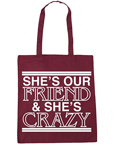hippowarehouse-shes-our-friend-and-shes-crazy-tote-shopping-gym-beach-bag-42cm-x38cm-10-litres