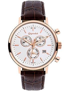 Gigandet Classico Herren Armbanduhr Chronograph Analog Quarz Braun Rotgold G6-006
