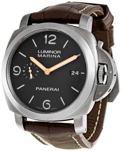 Panerai Herren-Armbanduhr 44mm Armband Leder Braun Gehäuse Edelstahl Automatik Analog PAM00351
