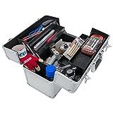 anndora® Werkzeugkoffer 24L Präsentationskoffer Etagenkoffer Silber + Schlüssel - 5
