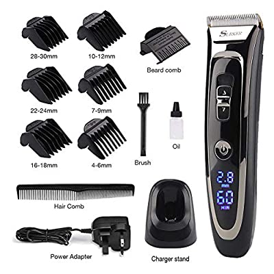 Cordless Hair Clipper Set, Professional Hair Clipper Beard Shaver, Rechargeable (charging 90min, running 60min), with Titanium Ceramic Blade, LED Display, IPX4 Waterproof, for Men, Kids and Family Use by SURKER