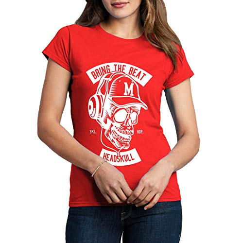 B506WCNTR Damen T-Shirt Bring The Beat Music Head Skull DJ Club Party Turntable CD Player Classic Retro(XX-Large,Red)