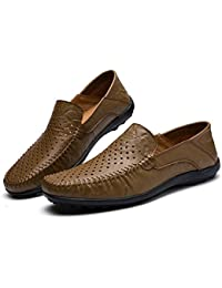 ASHOES Zapatos Agujeros Transpirables Hombres Zapatos de Cuero Resbalón en Mocasines Planos Negocios Casual Conducción Verano