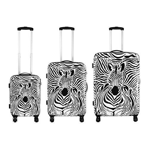 Trolley-Set ZEBRA, 3-teilig, schwarz-weiß, 4 Rollen - (35511) - (35511)