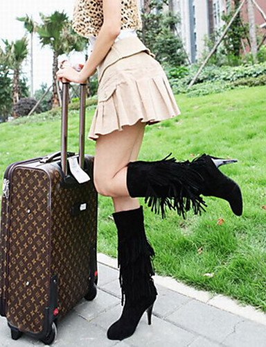 ShangYi Mode Frauen Schuhe Schuhe Damen Frühjahr / Herbst / Winter Fashion Stiefel Outdoor / Casual Stilettabsatz TasselBlack Schwarz