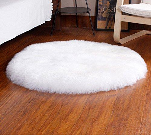 LIYINGKEJI Deluxe weiche moderne Faux Schaffell Shag Teppiche Kinder spielen Teppich für Wohn- & Schlafzimmer Sofa 60 x 60 cm (Weiß)