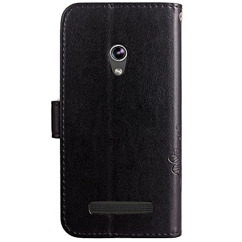 Double Magnetic Back Sucktion Retro Style PU Leder Flip Stand Case mit Kickstand und Wallet Beutel Funktion für Asus Zenfone 5 ( Color : Gray ) Black
