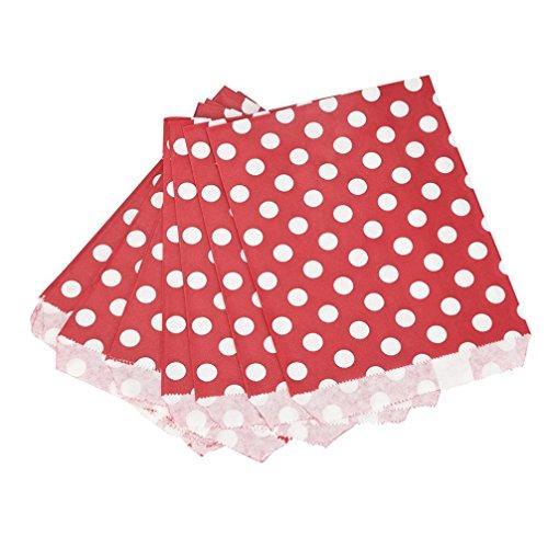 25 Stücke Einweg-lebensmittel-taschen Lebensmittelechtes Papier Cookie Tasche Süßigkeiten Favor Treat Taschen Umwelt Papiertüte Partei Liefert By Upxiang (Punkte-Rot) Kleine Rosa Behandeln Taschen