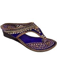 Beauty Craft Rajasthani/ Jaipuri Ethnic Golden Zari Embroidery Work Chappal Sandal|Color : Blue| Size: Ind/Uk: 5; EU: 38