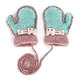 Kinder Winter Handschuhe Fäustlinge Baby Cartoon Fausthandschuh Halshandschuhe Dicke Doppelt Strickhandschuh mit Plüsch,0-3 Jahre alt, Spielen, Laufen, Skifahren Bedarf (Blau A)