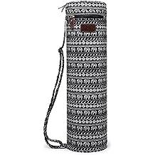 Bolsa para esterilla de yoga, boence Full cremallera ejercicio yoga mat Sling Bag con lona resistente, suave cremalleras, correa ajustable, funcional bolsillos de almacenamiento – se adapta a la mayoría de gran tamaño alfombrillas (Elephant)